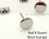 Men's stud earrings - men's earrings studs- steel flat disc stud earrings - fake plug earrings - fake gauge studs - 8mm nail it down 420Q