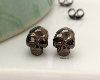 Mens stud earrings, dark and evil skull stud earrings, black gold skull stud earrings, skull stud earrings, gifts for him, 468B1