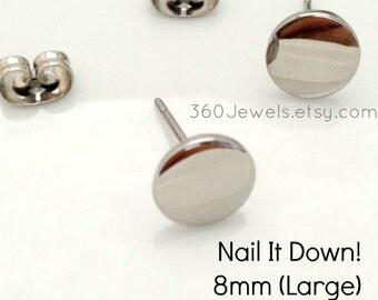 Men's stud earrings - men's earrings studs- steel flat disc stud earrings - fake plug earrings - fake gauge studs - 8mm nail it down 420Q