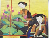 Life in Forbidden City - Erotic Village Folk Art Painting 10x10 inches