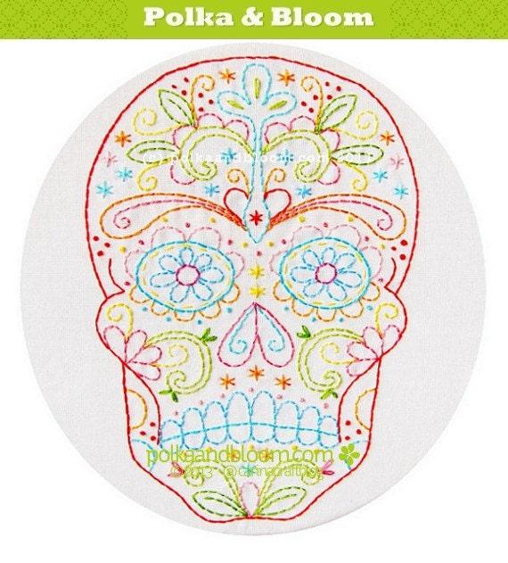 Embroidery Pattern Skull Calavera Dia de Los Muertos PDF
