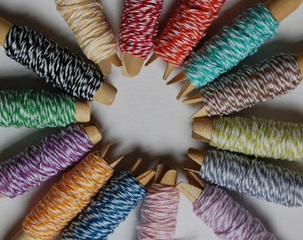 50 Yards Bakers Twine Sampler - You Choose the Colors - 5 colors - 10 yards each
