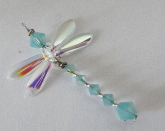 Paific Opal Dragonfly Pendant Charms pendants earrings dangles blue gold bead caps Free Shipping