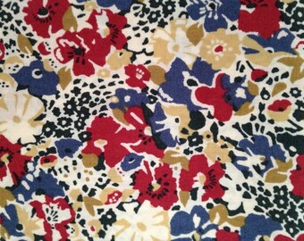 lucy locket - liberty of london - fat quarter - blue, red, olive and camel