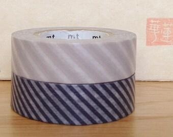 japanese washi paper masking tape - stripes  -  grape and sakura - set of 2