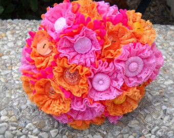 Custom Build Your Own Lace Button Bridal Party Bouquets