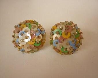 1940s Pastel Sequin Button Earrings  screw back