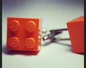 Made from Lego (r) Orange Crush 2x2 Brick Cufflinks