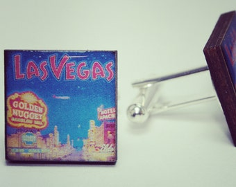 Viva Las Vegas Nevada Cufflinks ~ Golden Nugget Desert Grand Canyon Links