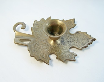 Brass Embossed Maple Leaf Candle Holder, Fall Leaf Candlestick, Autumn Home Decor, Vintage Housewares, Fall Gift, Table Decor, Collectible