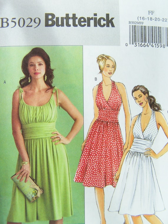 Butterick b5029 sewing pattern women 39 s gathered bodice for Wedding dress patterns plus size