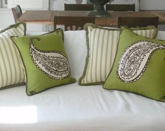 "SALE SALE Green  designer fabric pillows  artisan collection ""ready to ship"""