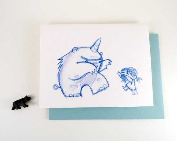 Rawr Greeting Card - Monster and little girl rawr boo scare - blue pencil