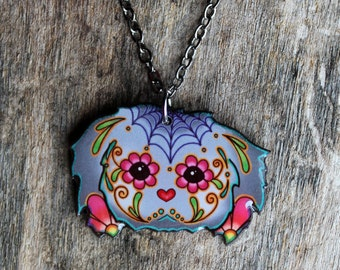 CLEARANCE - Day of the Dead Shih Tzu Sugar Skull Dog Necklace