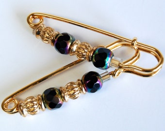 Black Crystal  n Golden Gathering Pin Pair, Sleeve Pin, Scarf Pin