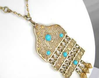 Vintage gold vermeil over sterling silver Deco necklace with turquoise blue cabs