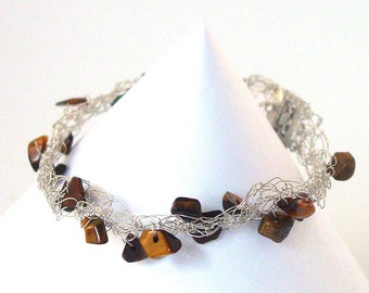 Tiger Eye Bracelet - Brown Bracelet - Silver Wire Crochet Bracelet - UK Seller - Cobweb Bracelet - WorldWide Shipping