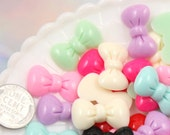 23mm Small Fluffy Pastel Colored Ribbon Bow Resin Cabochons - 8 pc set