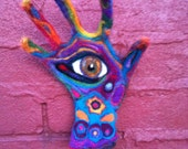 "PsEyEchedelic Hamsa -"" Eye Am Hopeful"" - Offers Protection from the Envious Eye- OOAK"