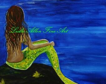 "Mermaid Mermaids Siren Sirens Art Print Giclee Girl Woman Ocean Seascape Fantasy Art Decor  ""Breathtaking Mermaid"" Leslie Allen Fine Art"
