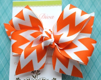 Orange and White Chevron Classic Diva Bow