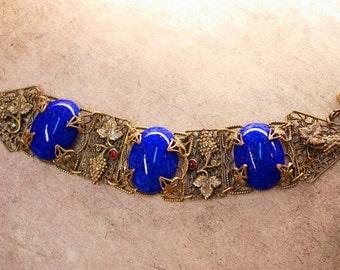 Antique Blue Czech Bracelet beautiful Filigree with raised Grape design
