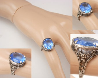 ANtique Sterling Deco filigree ring with blue stone