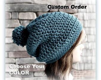 CUSTOM ORDER - the Amazing Pom Pom Slacker Rasta Styled Hat - in your choice of color