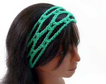 SALE The Trellis Lite - Headband - Threadmill Original Design - In Mod Green - Chain Style Headband - 100 Percent Cotton Yarn - Eco Friendly
