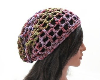 Grid Slouchy Beanie - Crocheted in Exclusive Chilean Cotton Yarn