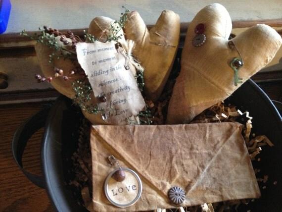 Primitive Valentine Quilted  Poem Hearts with LOVE Letter Tucks Set of 4