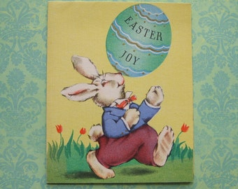 Vintage Bunny Rabbit with Egg Unused Easter Card with envelope