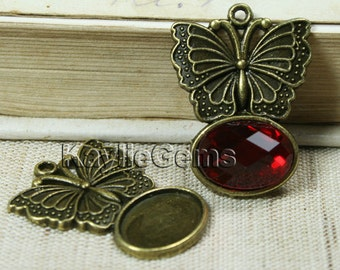 Butterfly Charm Pendant Cabochon Setting Base Frame Fits 10x14 Oval FRM-P3772AB - 4pcs