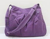 Canvas Cotton Crossbody bag in Purple, Sling bag, Market Bag, Hobo Bag, Everyday Purse, Handbags, Gift Ideas for Women - HOODIE - 40% OFF