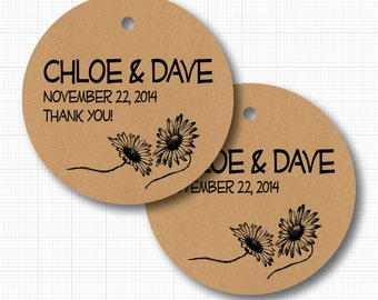 """Antique Daisy Personalized Wedding Tags on Kraft . 2"""" round (np)"""