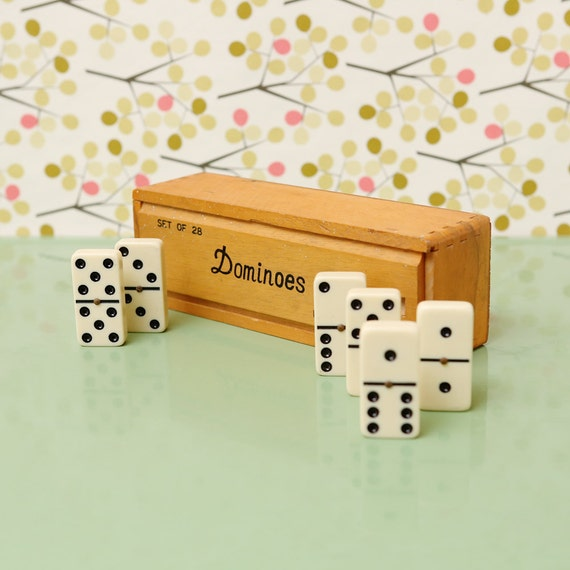 Vintage Dominoes Set in Wood Box