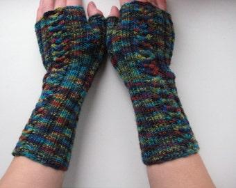 Colorful fingerless hand knitted fingerless gloves
