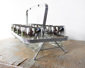 silver roly poly glasses with caddy, silver ombre mid century cocktail set, 1960s barware