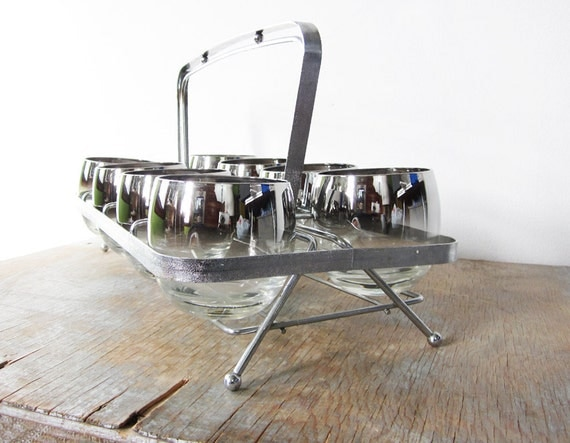 silver mad men glasses with caddy,roly poly glasse, dorothy thorpe inspired cocktail set, 1960s mid century barware
