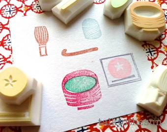 japanese tea party stamp set. matcha green tea hand carved rubber stamp. traditional design. scrapbooking. gift for tea lovers. set of 7