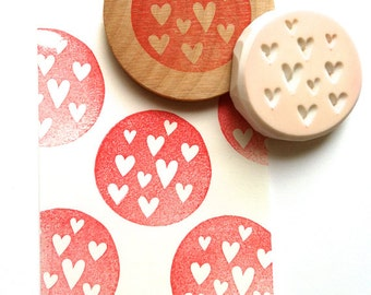 love heart hand carved rubber stamp. circle stamp. birthday wedding valentine's day crafts. gift wrapping. diy valentine scrapbooking