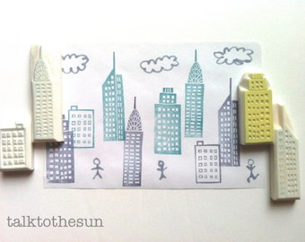 skyscraper rubber stamp set. architecture hand carved rubber stamp. city landscape. card making. gift wrapping. holiday crafty gifts