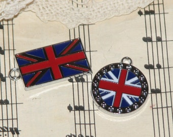 2 British Union Jack Flag Charms - Jewelry, Charms, Scrapbooking, and More