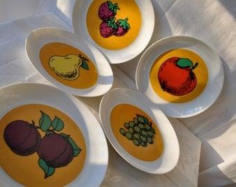 Mod Vintage 1980s Spanish Porcelain Fruit Plates