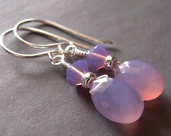 Lavender Chalcedony Earrings, Lilac Chalcedony Swarovski Crystal Sterling Silver, Dangle Earrings, Drop Earrings