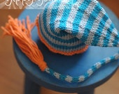 Newborn Knit Hat Baby Knit Orange Turquoise and Gray Elf Nightcap with Tassel Cotton/Wool