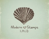 Wedding Stamp   Custom Wedding Stamp   Custom Rubber Stamp   Custom Stamp   Personalized Stamp   Vintage   Sea Shell Stamp   V11