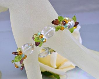 Peridot Rock Crystal  Gemstone Bracelet,Citrine,Apatite,Sterling Silver Wire Wrapped Bracelet,Tropical Breeze