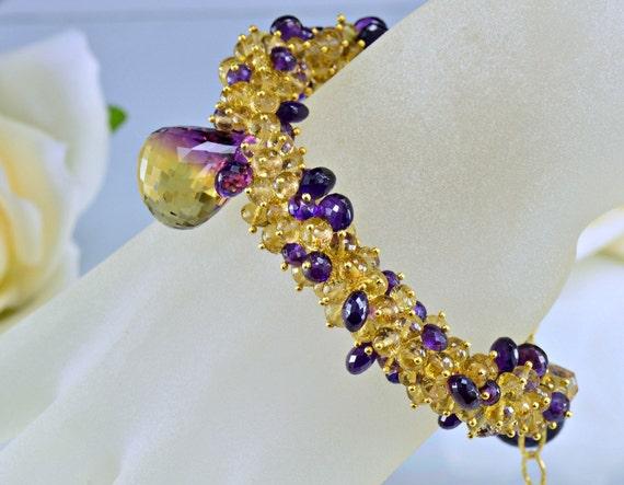 Ametrine Gemstone Bracelet, Amethyst,Honey Quartz,14k Gold Filled Wire Wrapped Bracelet