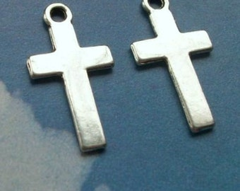 10 simple, smooth cross charms, double sided, silver tone, 25mm